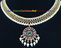 Dance Jewelry Choker with maroon stones and art pearls