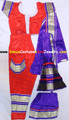 Bharatanatyam dance dress ready made Art silk RedBlu38