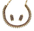 Kundan style colored glass bead necklace and earrings