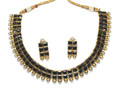 Kundan style black glass bead costume jewelry necklace and earrings