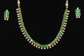 Kundan style green glass bead costume jewelry necklace and earrings