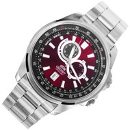 Orient Red Dial Analog Automatic Stainless Mens Sports Watch ET0Q003H