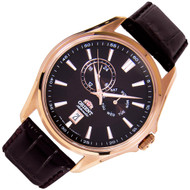 Orient Brown Dial Analog Automatic Mens Leather Dress Watch ET0R003T