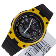 Casio Quartz Black Yellow Analog Digital Mens Watch AW-80-9B AW80