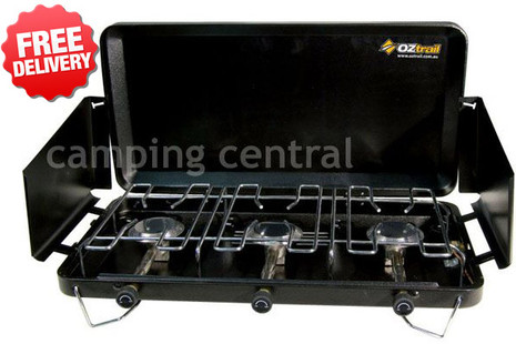 OZtrail 3-Burner Gas Camping Portable Stove Cooker