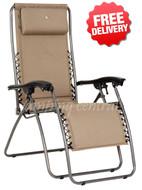 OZtrail Sun Lounge Classic Reclining Pool Arm Chair