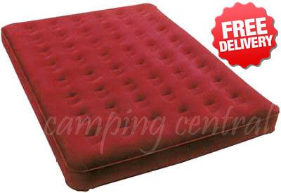 OZtrail Queen Inflatable Velour Air Bed Mat Mattress - (Red)