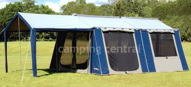 OZtrail 12 x 15 Canvas Cabin Family Tent - Front View & OZtrail 12 x 15 Canvas Cabin Family Tent available at a great ...