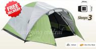 OZtrail Classic 3V Dome Hiking 3 Man Person Tent - Dimensional and Floor Plan