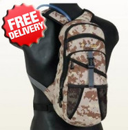 OZtrail 2 Litre Blue Tongue Camo Hydration Pack - Angle View