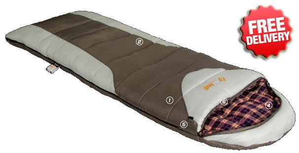 OZtrail Mountain View -7 Celcius Sleeping Bag - 220x80cm (Brown)