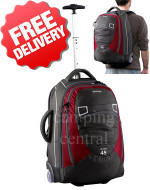 Caribee Fast Track 45 Wheeled Trolley Bag Backpack - Colour Red / Charcoal