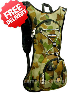 Caribee Auscam Quench 2 Ltr Camo Hydration Pack - (Front View)