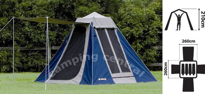 OZtrail Tourer 9 Canvas Touring Tent - (Angle View)