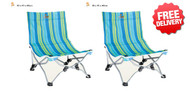 2 X OZtrail Beachside Portable Camp Picnic Beach Chair (Two Pair)