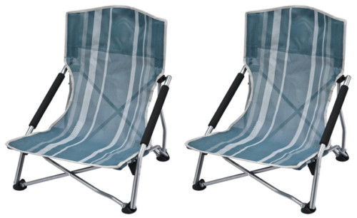 2 X OZtrail Deluxe Portable Camp Picnic Beach Chair - (Blue Green with White Stripes)