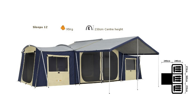 OZtrail Chateau 12 Canvas Cabin Tent - Dimensions