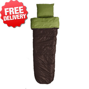 Caribee Cloud +5 Cel. Sleeping Bag + Pillow - Green