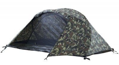 Black Wolf Stealth Mesh (Camo) Hiking Compact Tent - Open Tent