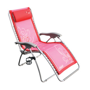Coleman Foxy Lady Lounger Lounge Chair Folding Reclining Recliner Camping Picnic - Angle View