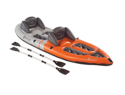 Sevylor Sit on Top Kayak (2 Person) Inflatable Boat with Oars Paddles - Angle View