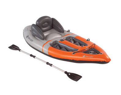 Sevylor Sit on Top Kayak (1 Person) Inflatable Boat with Oars Paddles - Angle View