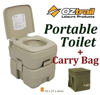 OZTRAIL PORTABLE (20 LITRE) FLUSH CAMP CAMPING OUTDOOR TOILET + ...
