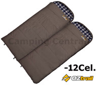 2 x OZTRAIL COTTON CANVAS DUO -12Cel. MEGA SLEEPING BAG (235 x 100cm) DOUBLE CAN BE USED SEPERATELY OR JOINED TO MAKE A DOUBLE