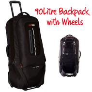 BLACK WOLF GRAND TRAVERSE 90L Backpack Travel Bag Wheeled Trolley Luggage Wheely