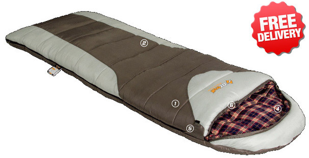 OZtrail Alpine View Jumbo -12 Celcius Sleeping Bag - 230 x 90cm - (Angle View)