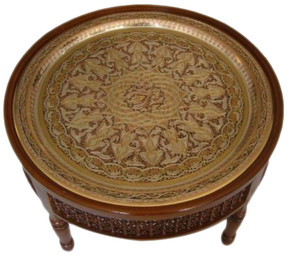 Moroccan Brass Tray Coffee - Tea Table