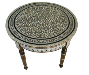 Egyptian Mother of Pearl Inlaid Wood Round Coffee Table