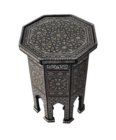Moroccan Table Egyptian Mother Of Pearl Mosaic Inlay Wood Coffee Table