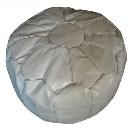 White Moroccan Faux Leather Pouf