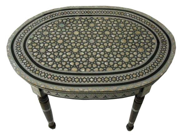 Moroccan Table Egyptian Mother Of Pearl Inlaid Wood Oval Coffee Table