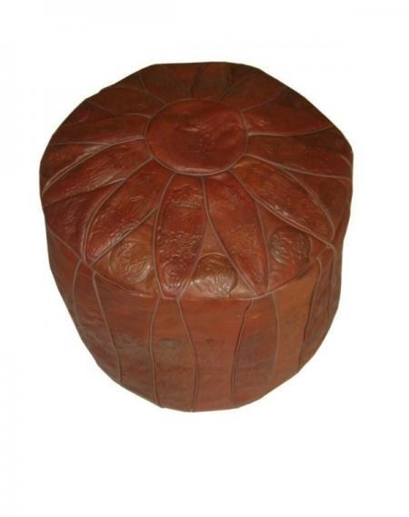 Moroccan Ottoman Embossed Leather Pouf Footstool
