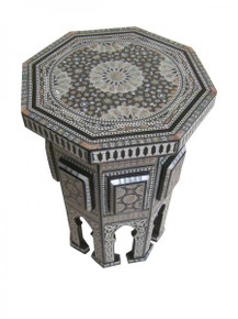 Moroccan Mosaic Mother of Pearl Inlaid Wood Side Table