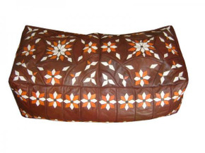 Moroccan Leather Bench Pouf Footstool