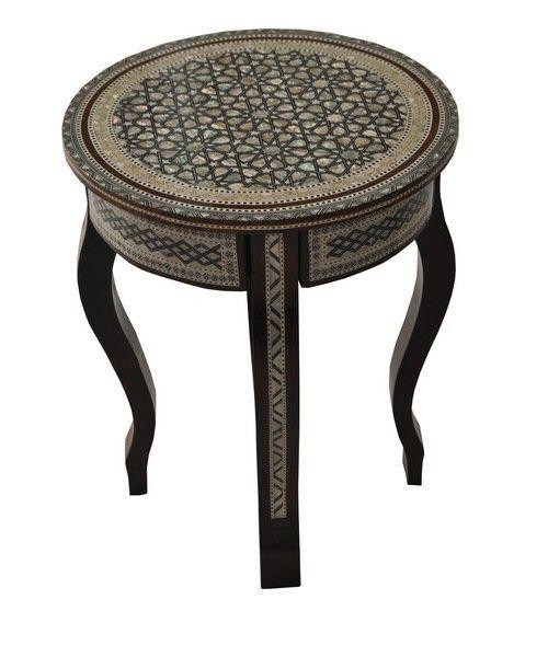 egyptian round mother of pearl mosaic wood coffee tea table e kenoz. Black Bedroom Furniture Sets. Home Design Ideas