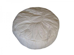 Moroccan White Leather Pouf Footstool