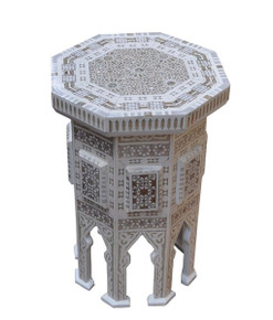 Modern Moroccan White End Table