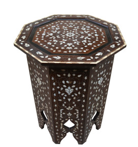 Syrian Mother of Pearl Inlaid Wood Coffee-Side- End Table