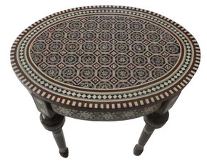 Egyptian Mother of Pearl Inlaid Mosaic Oval Coffee Table