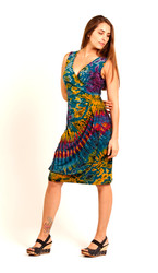 Faux Wrap Spandex No Sleeve Short Dress shown in Mudmee Tie Dye