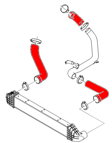 Silicone Air and Turbo Intake Hose Kit Diagram,