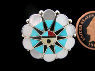 Sunface Inlaid Pendant  Delwin Gasper | Mother of Pearl, Turquoise and Black (SORRY SOLD)