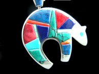 Bear Pendant in Sterling with Raised Inlay by Ronald Spencer