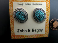 Carved Turquoise Earrings by Navajo artist John Begay