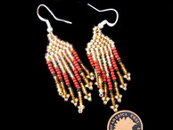 Rena Charles Earrings : Gold Beads with Brown Accents