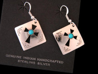 Navajo Stamped Sterling Earrings with Cutout Cross